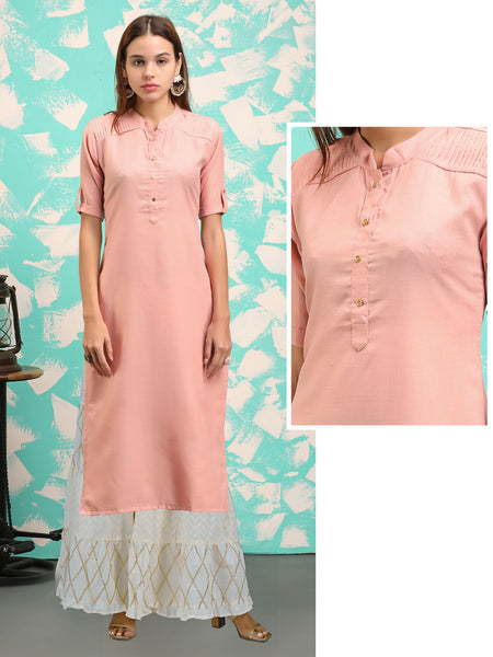 Sleek Buttoned, Pin tucked Casual Cotton Kurti - Pink