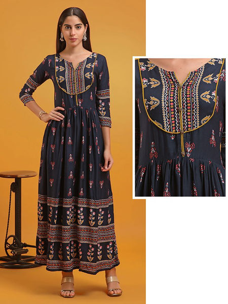 All Over Floral Printed Gathered Waist Kurti - Dark Blue
