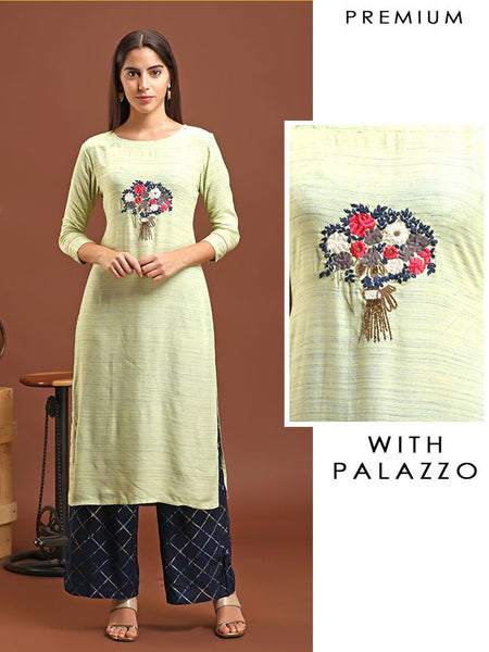 Textured & Embroidered Kurti with Printed Palazzo Set