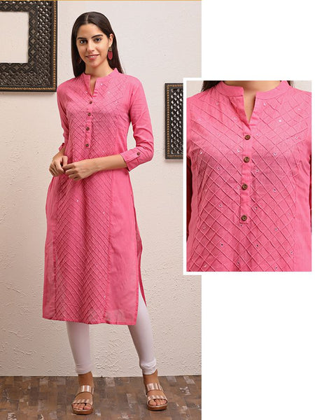 Cross Tucks & Foil Mirror Detail Solid Kurti - Pink