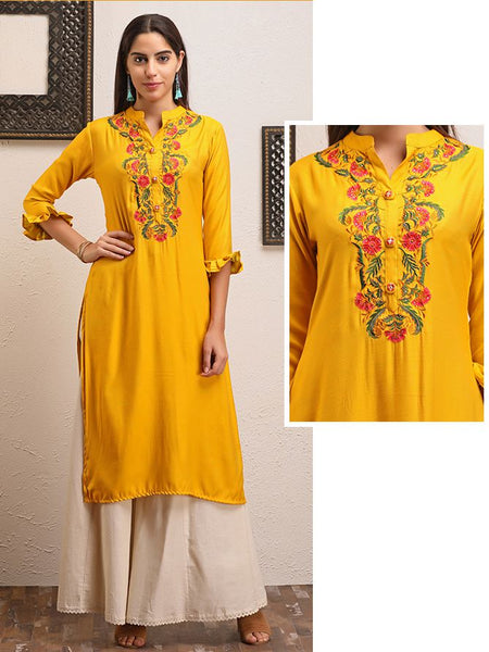 Multicolor Garden Floral Embroidered Kurti - Yellow