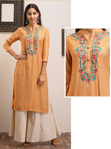 Multicolor Garden Floral Embroidered Kurti - Peach