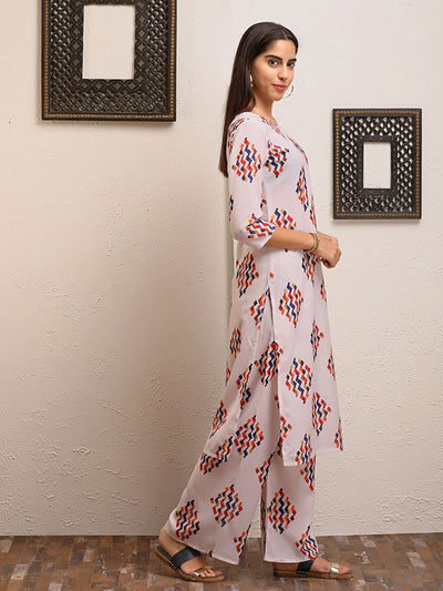 Multicolor Abstract Geometric Printed Kurti Palazzo Set