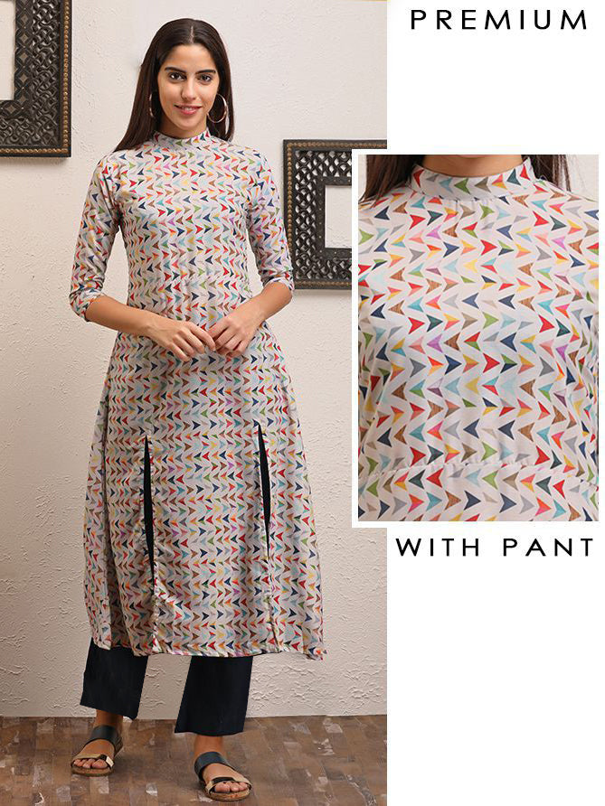 Multicolor Arrow  Printed Kurti Pant Set