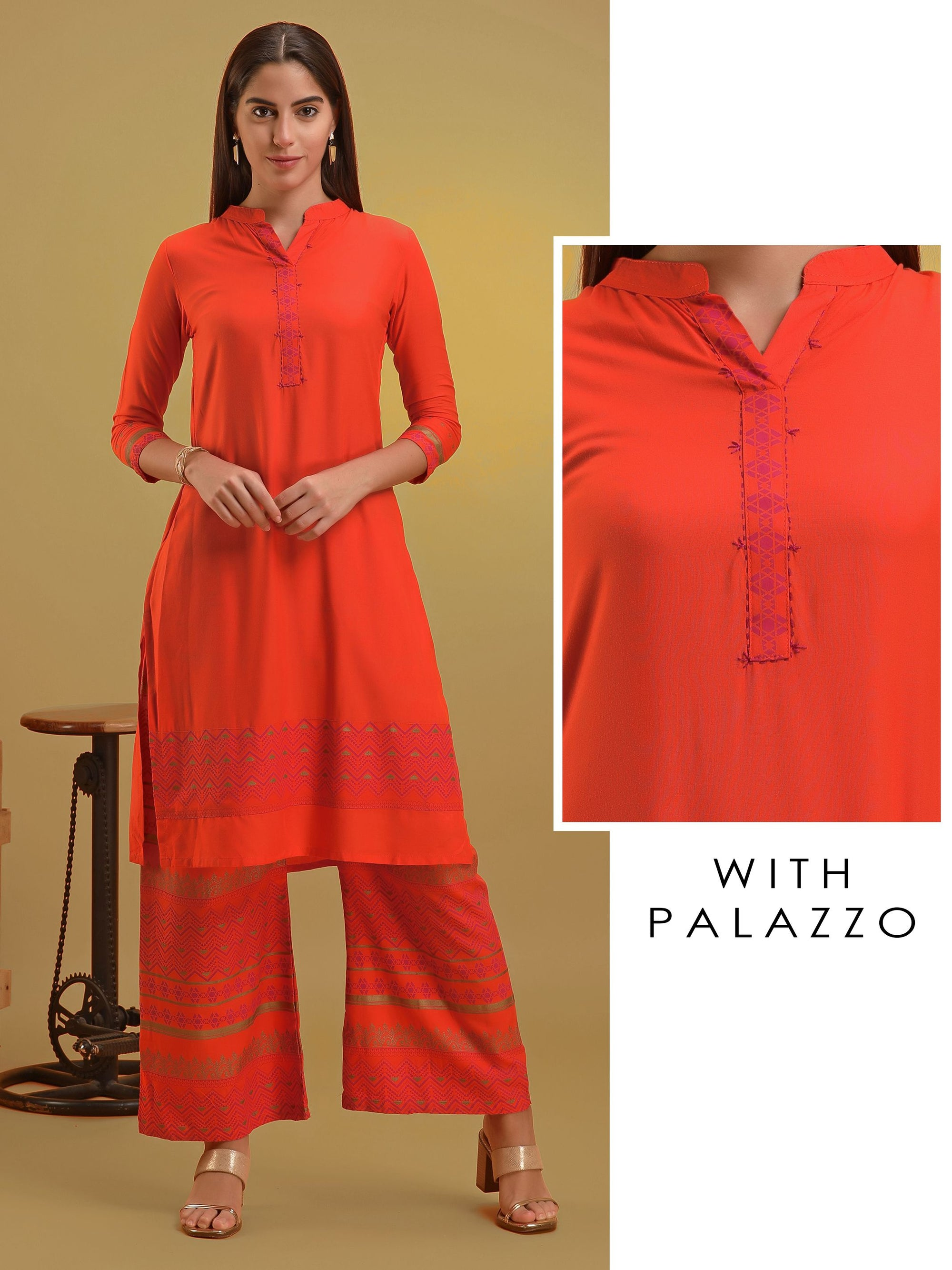 Orange Aztec Printed Kurta and Palazzo Set