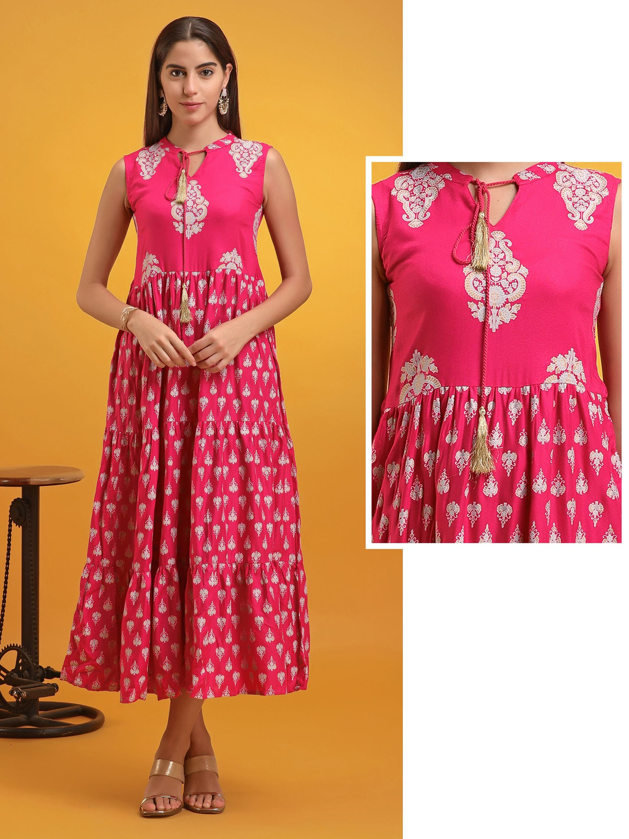 Pink Printed Tiered Kurta Dress