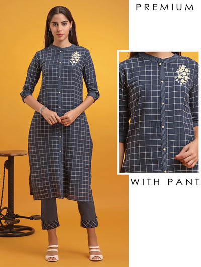 Bullion Knot Embroidered Checkered Kurti & Straight Pant Set
