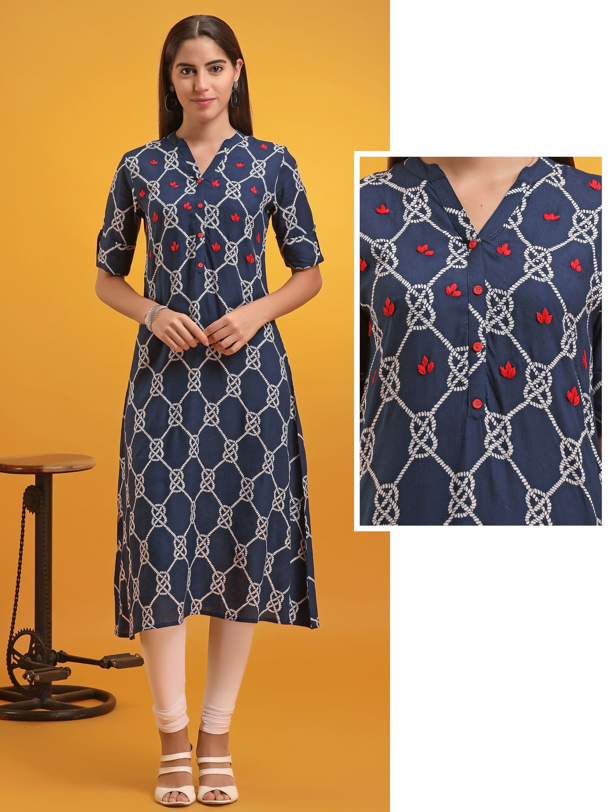 Rope Printed Minimal Thread Worked Rayon Kurti