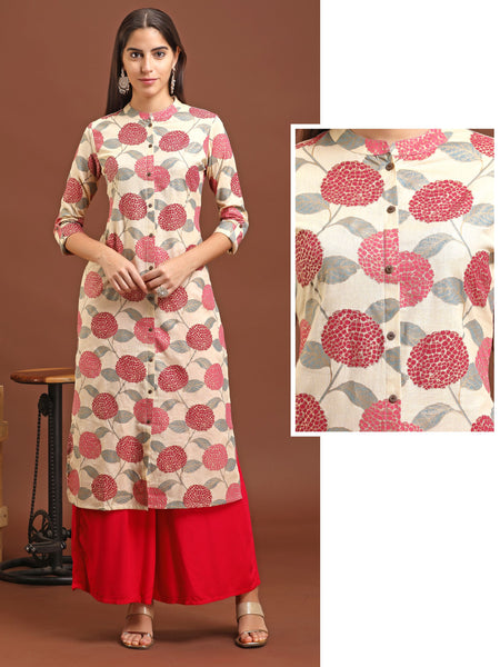 Abstract Floral And Foil Printed, Coconut Shell Buttoned Panel Kurti - Rani Pink