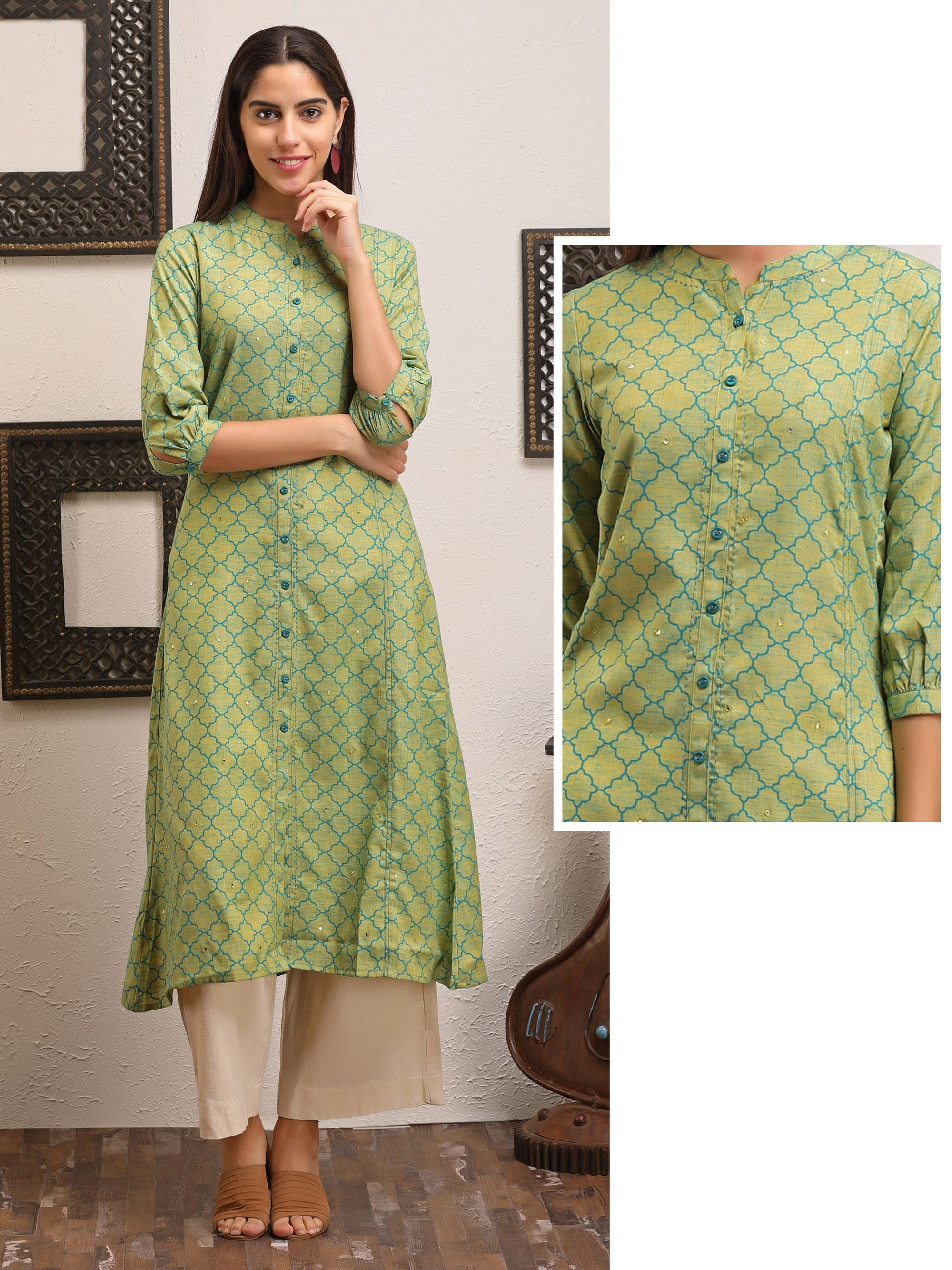 Green Printed A-line Kurta With Foil Mirror Work - Green