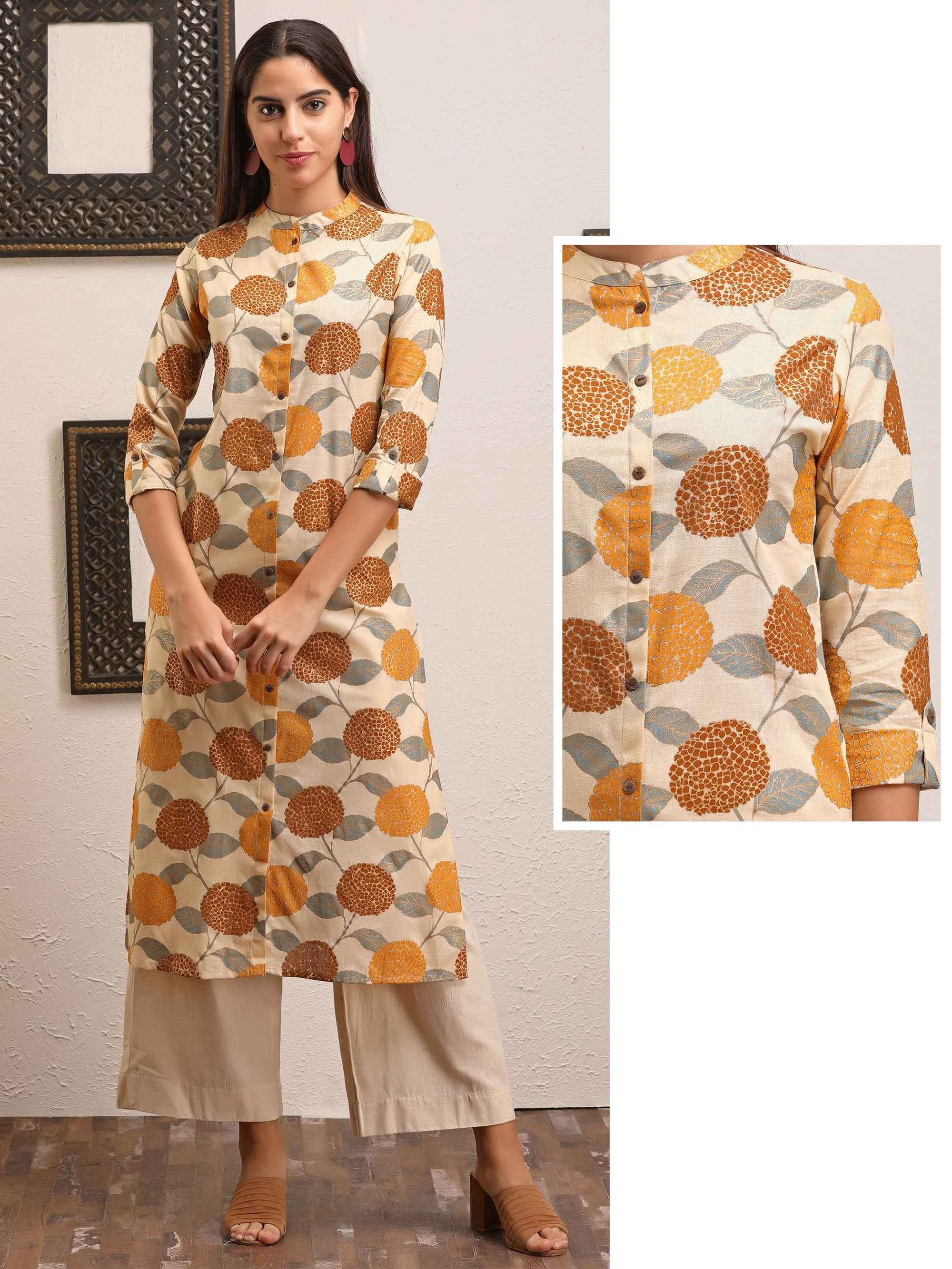 Abstract Floral And Foil Printed, Coconut Shell Buttoned Panel Kurti - Mustard