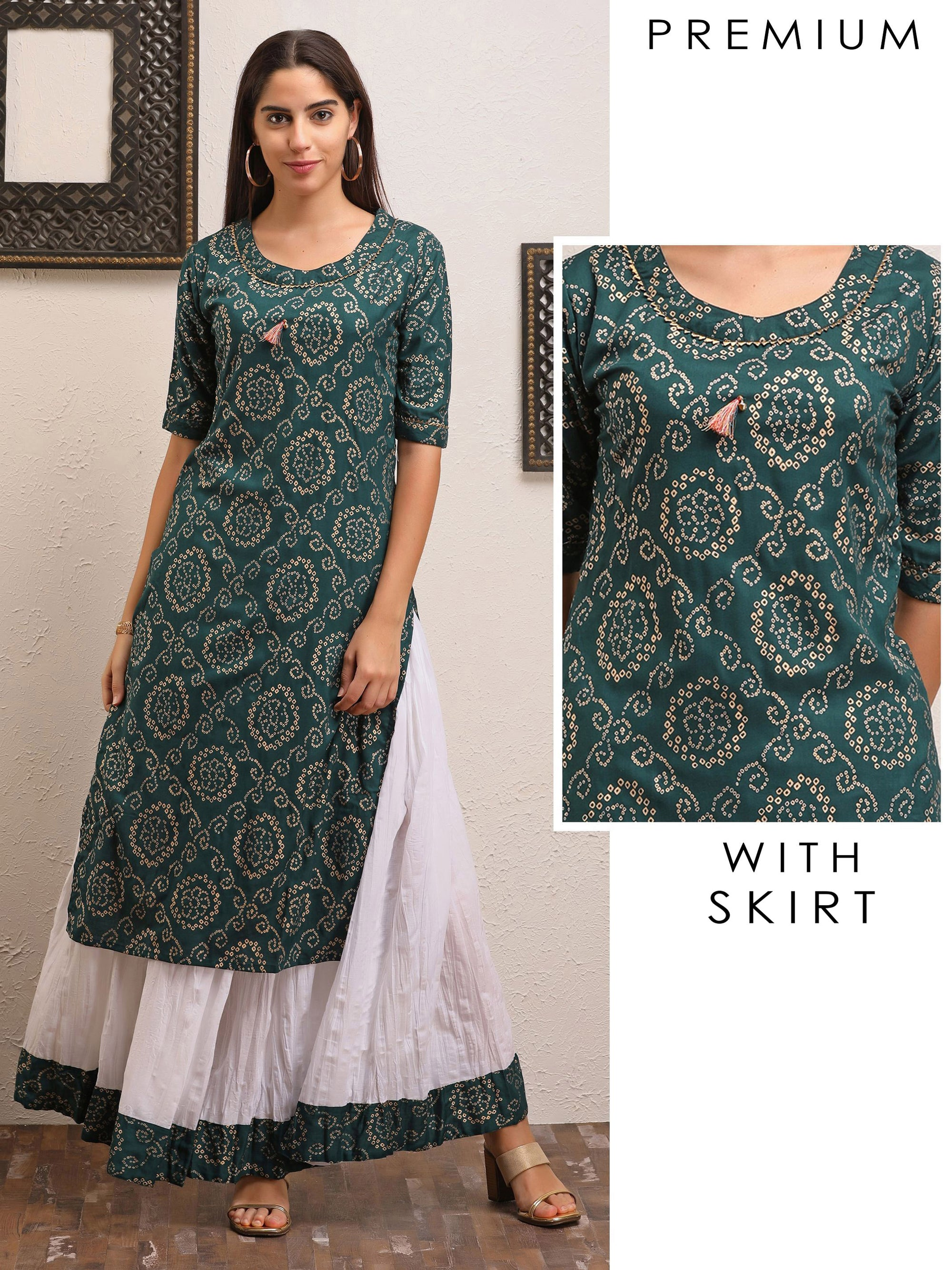 Bottle  Green Bandhani Kurta