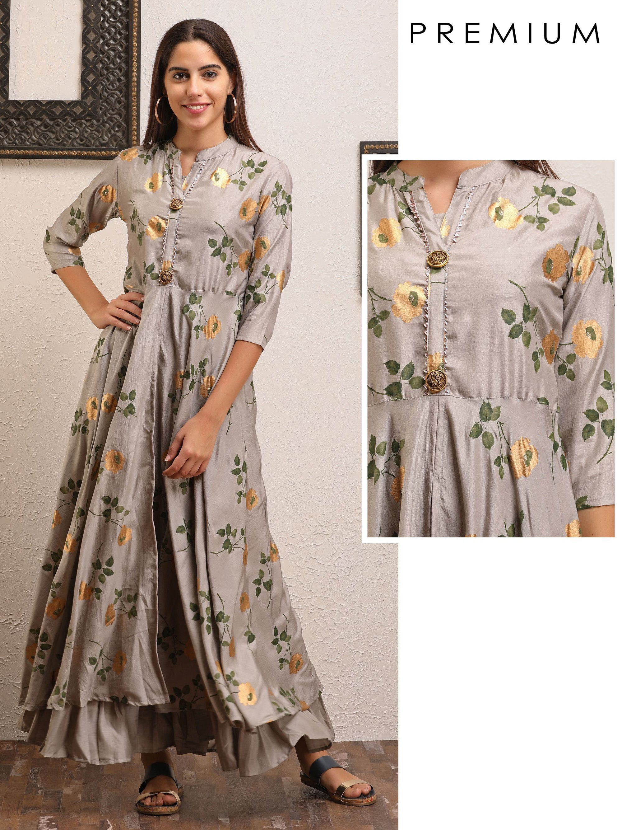 Floral Printed Gota Worked Slit Jacket & Gathered Detachable Inner - Grey