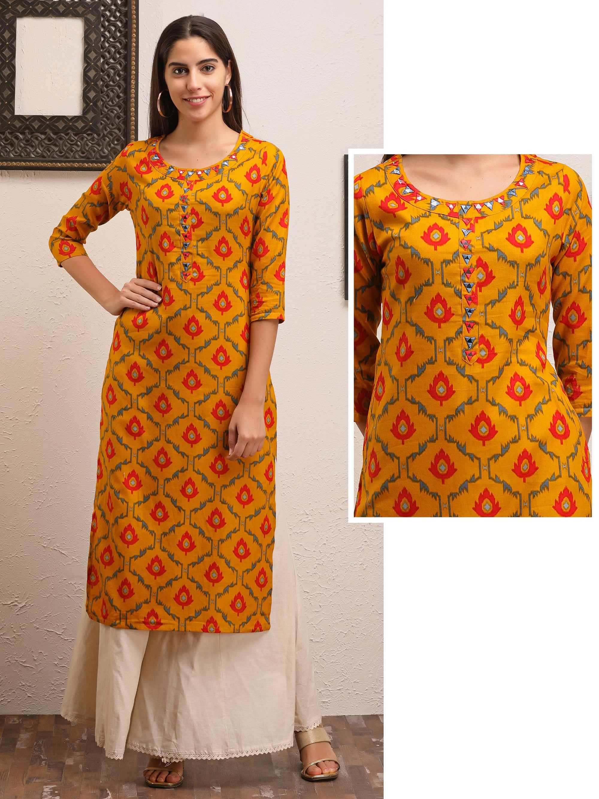 Geometric Mirror Work & Abstract Leaf Printed Kurti