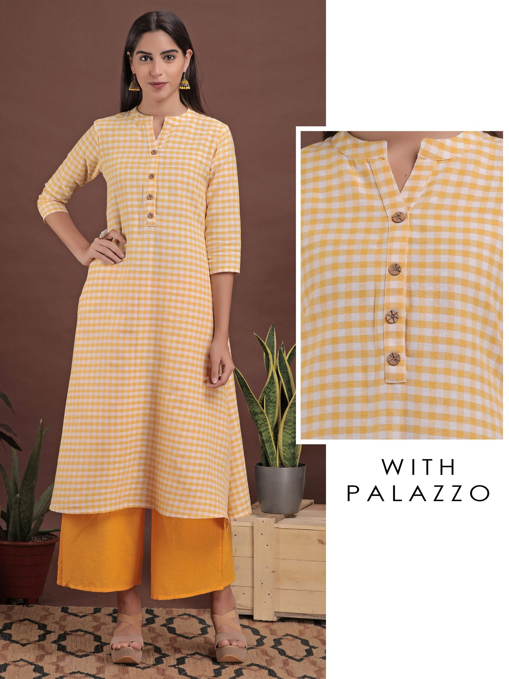Yellow Checked Print Kurta And Monotone Palazzo - Set Yellow