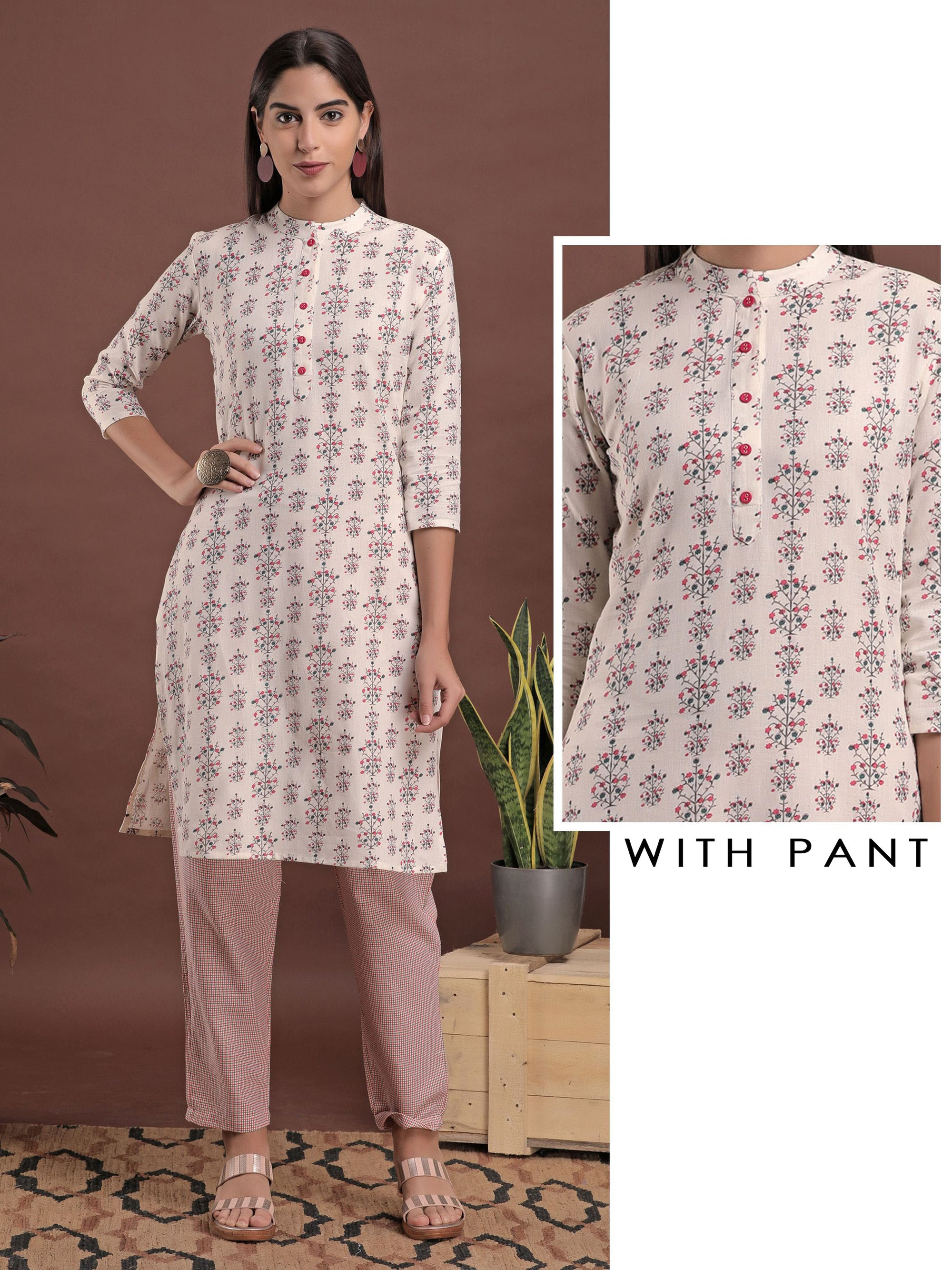 Minimal Floral Printed Kurti & Checkered Straight Pant