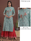 Blue Gota Work Kurta And Red Sharara Set