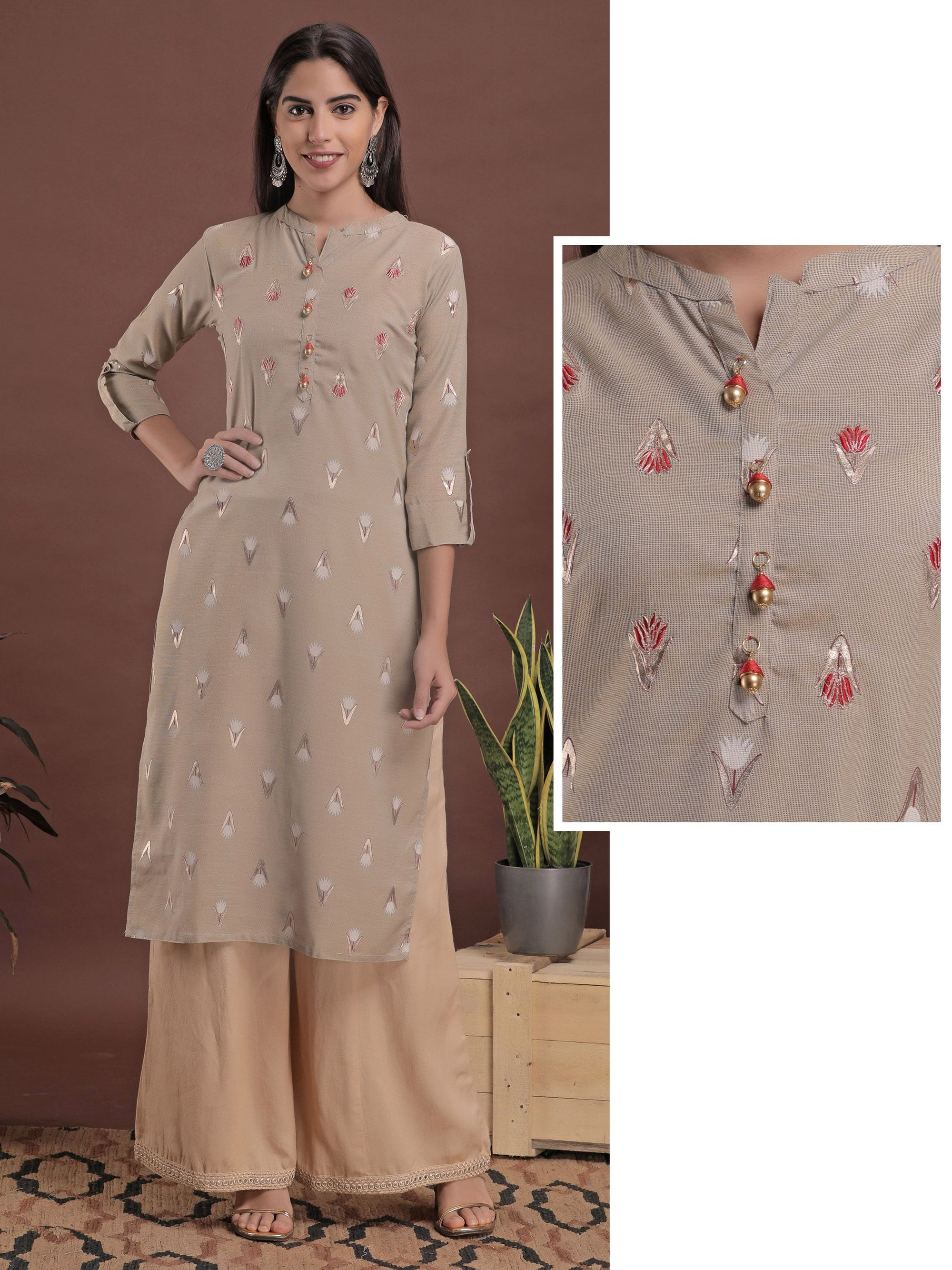 Floral Embroidery and Printed Kurta - Beige