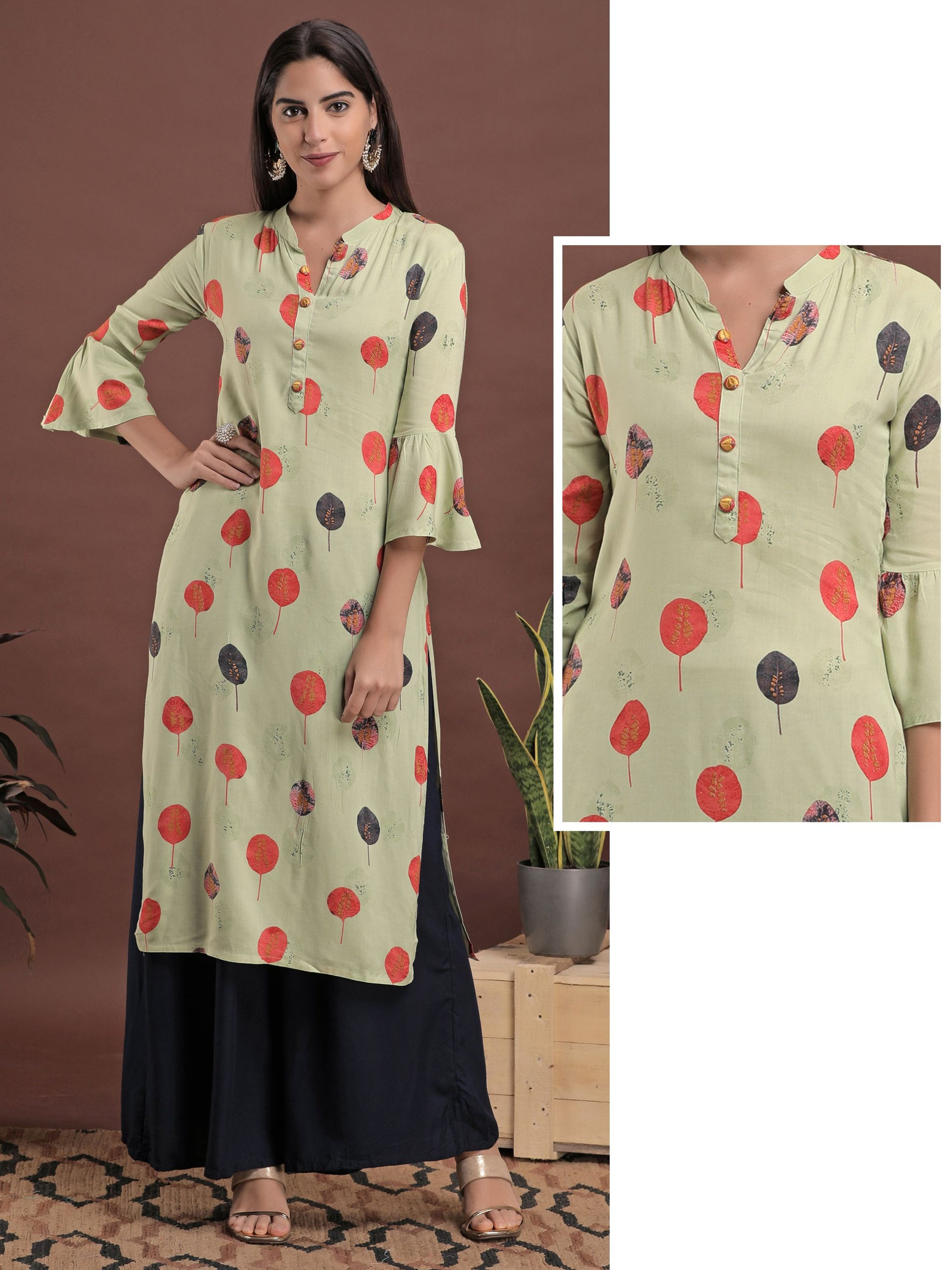 Autumn Leaf printed Rayon Kurti - Mint Green