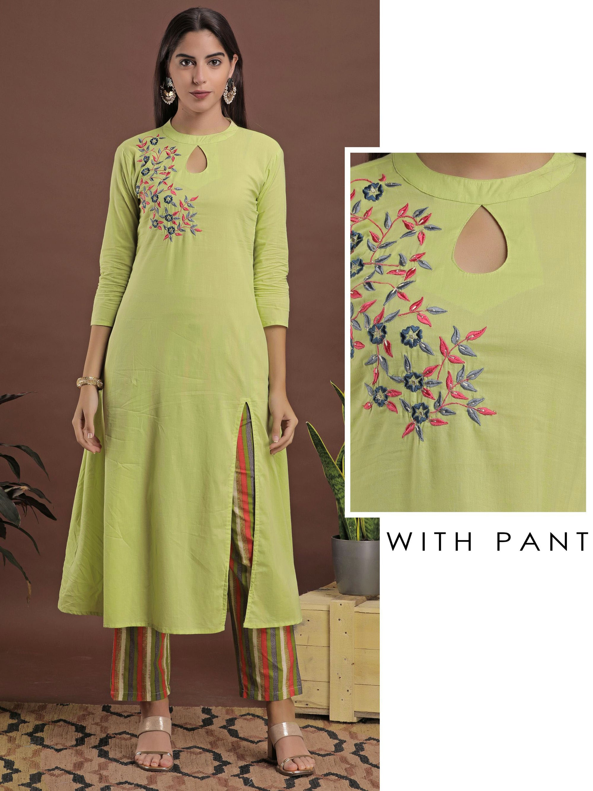 Kurta with Floral Embroidery And Striped Pant Set - Green