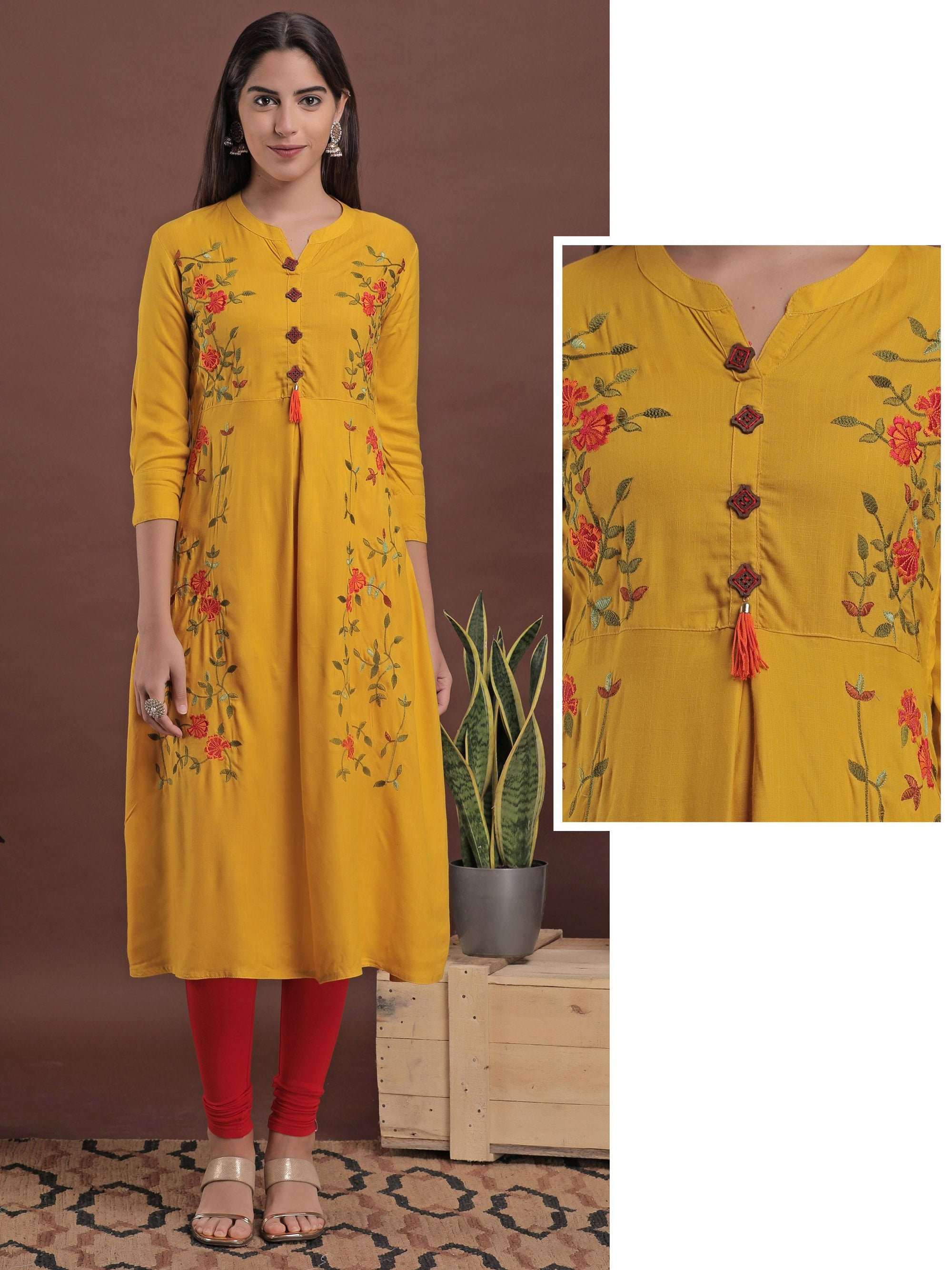 Elegant Floral Embroidered A-Line Kurta - Yellow