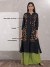 Elegant Floral Embroidered A-Line Kurta - Navy Blue
