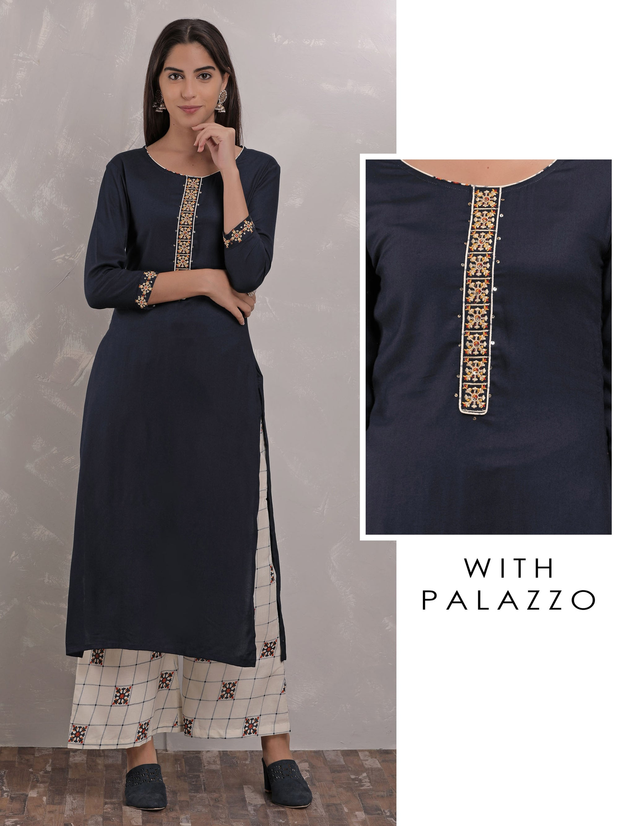 Placement Embroidery Kurta With Checkered Palazzo