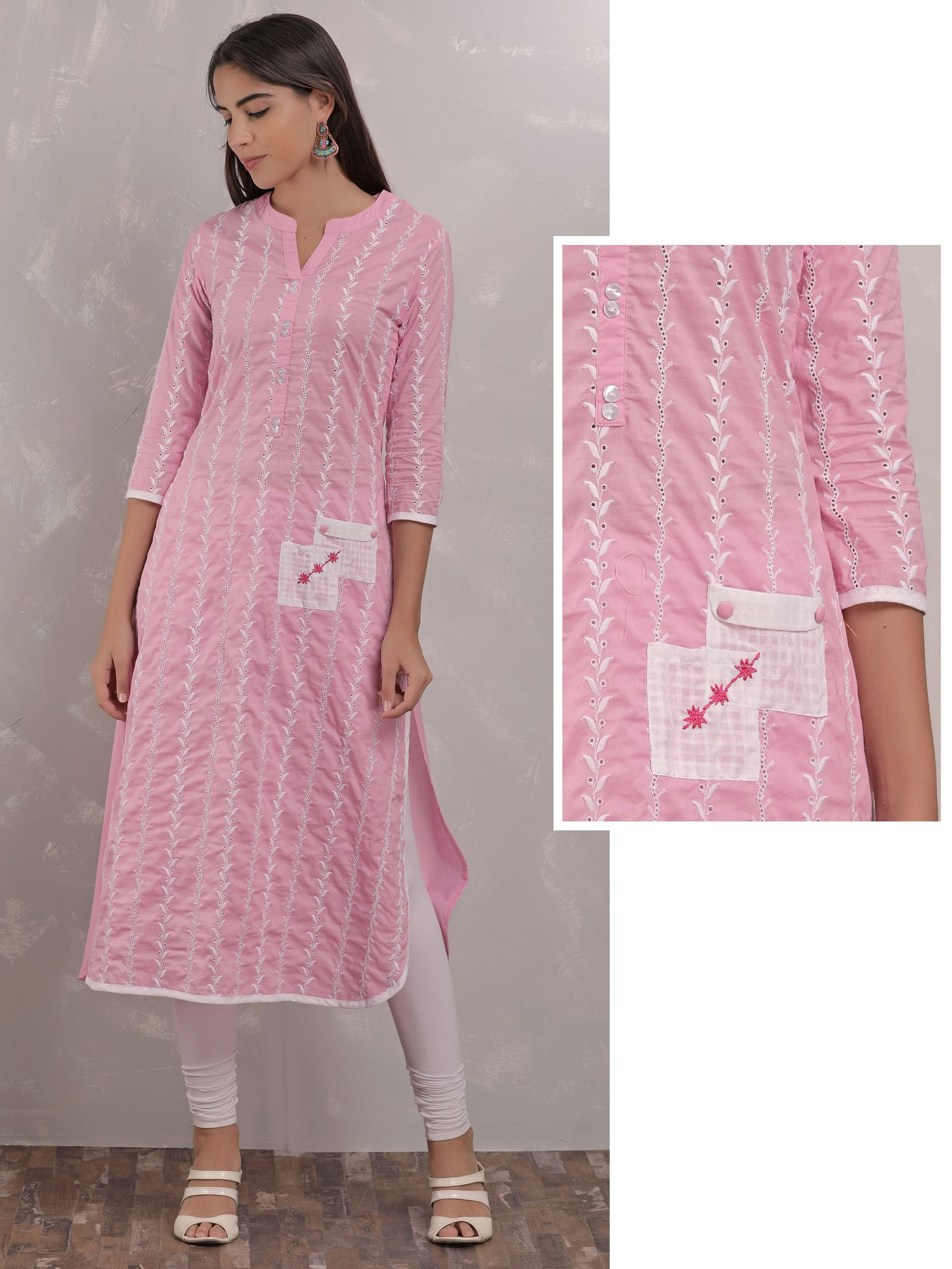 Leaf Embroidery Pink Kurta With Patch Design