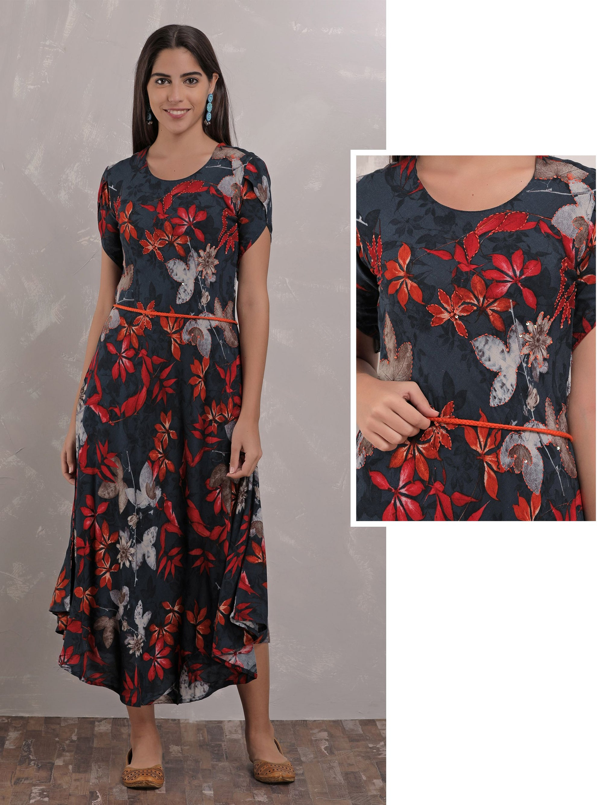 Floral And Leaf Maxi Dress With Waist Belt - Navy Blue