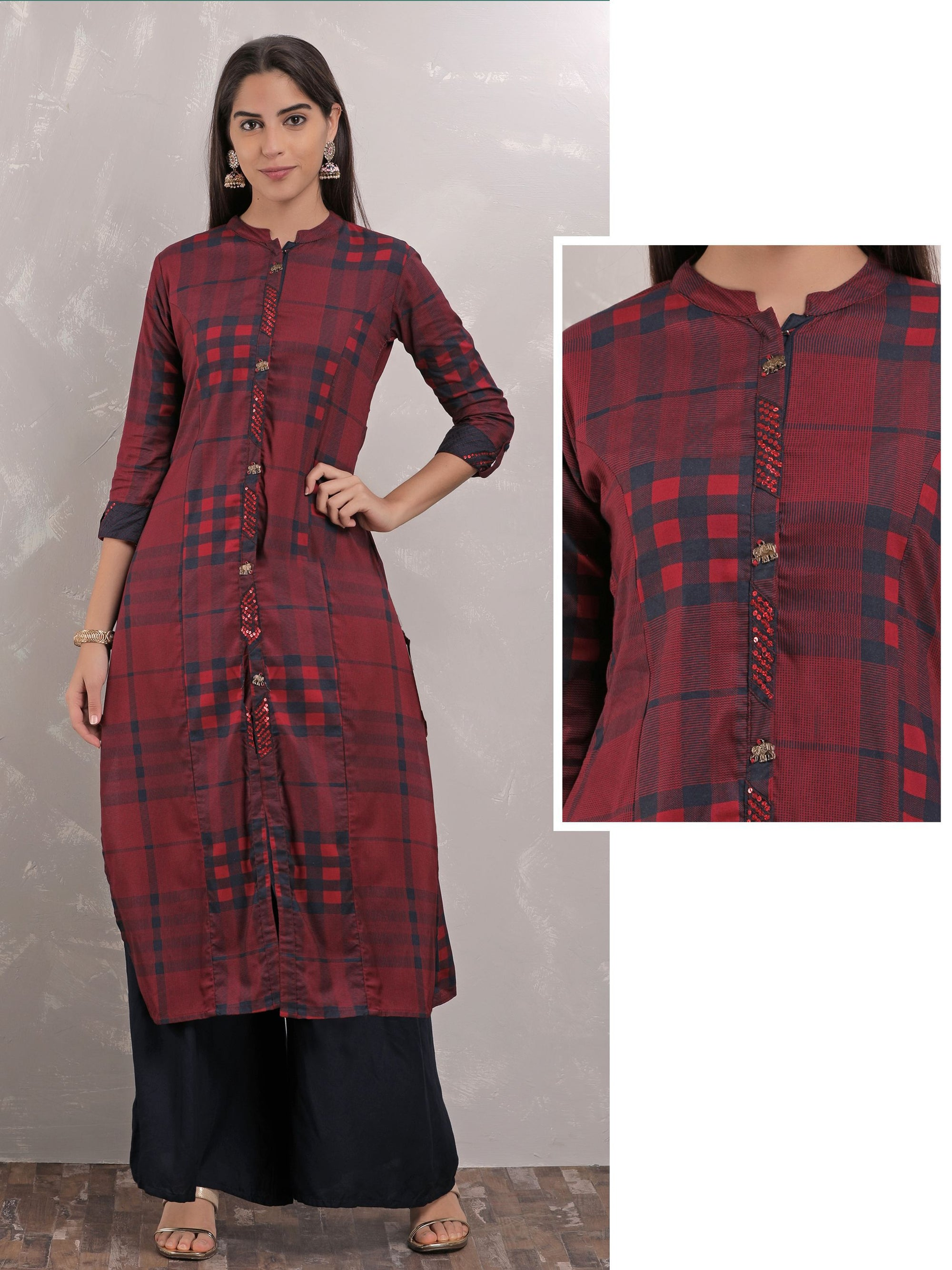 Blue and Maroon Checks With Red Sequins Kurta