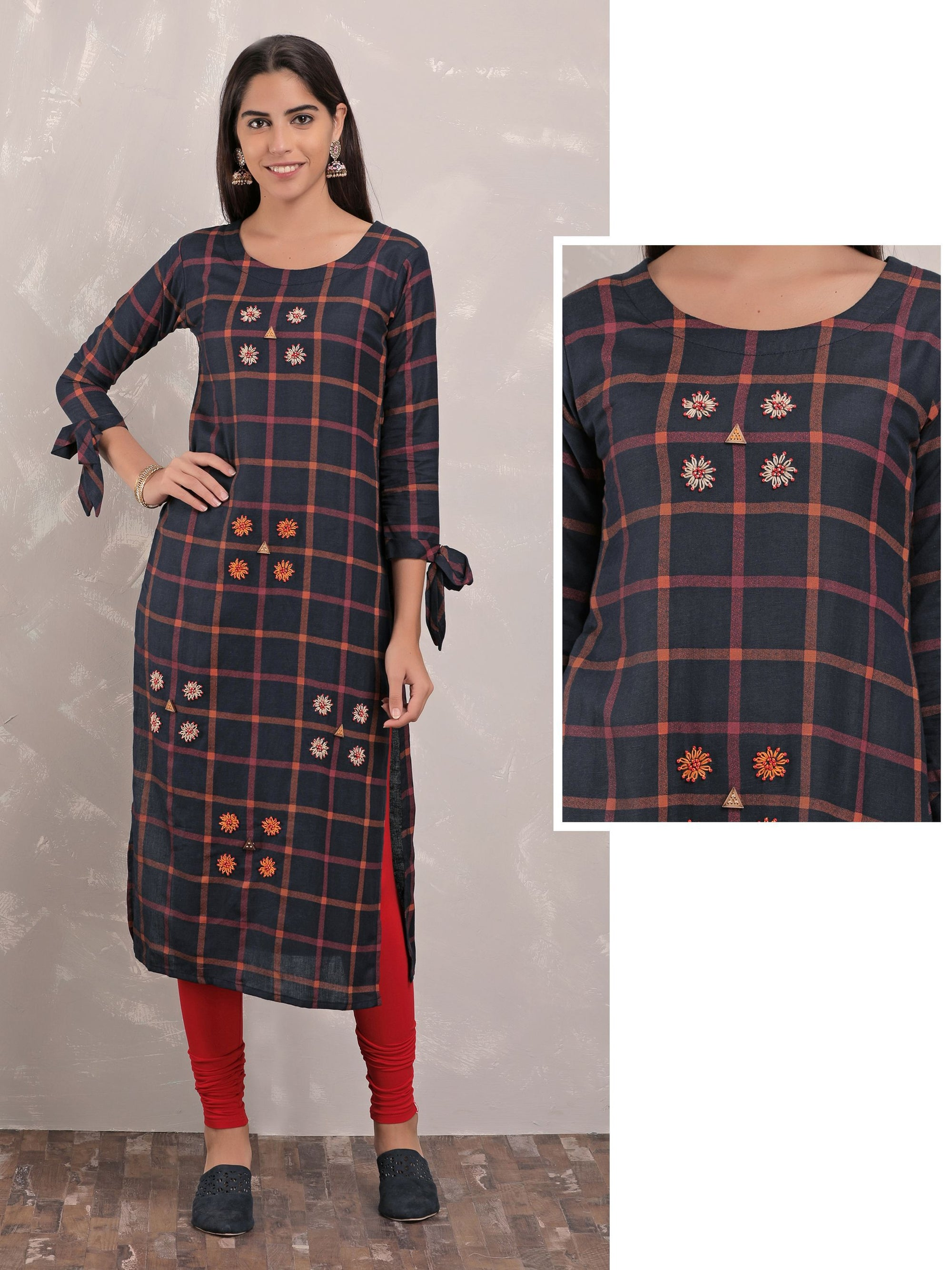 Black Checked Kurta With Floral Embroidery