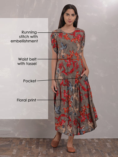 Floral And Leaf Maxi Dress With Waist Belt - Grey