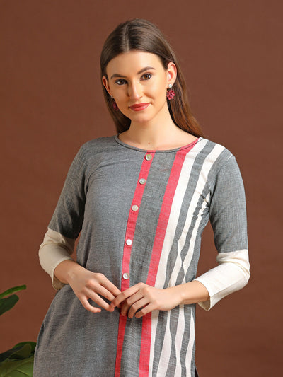 Vehicle Embroidered & Striped Woven Textured Cotton Kurti