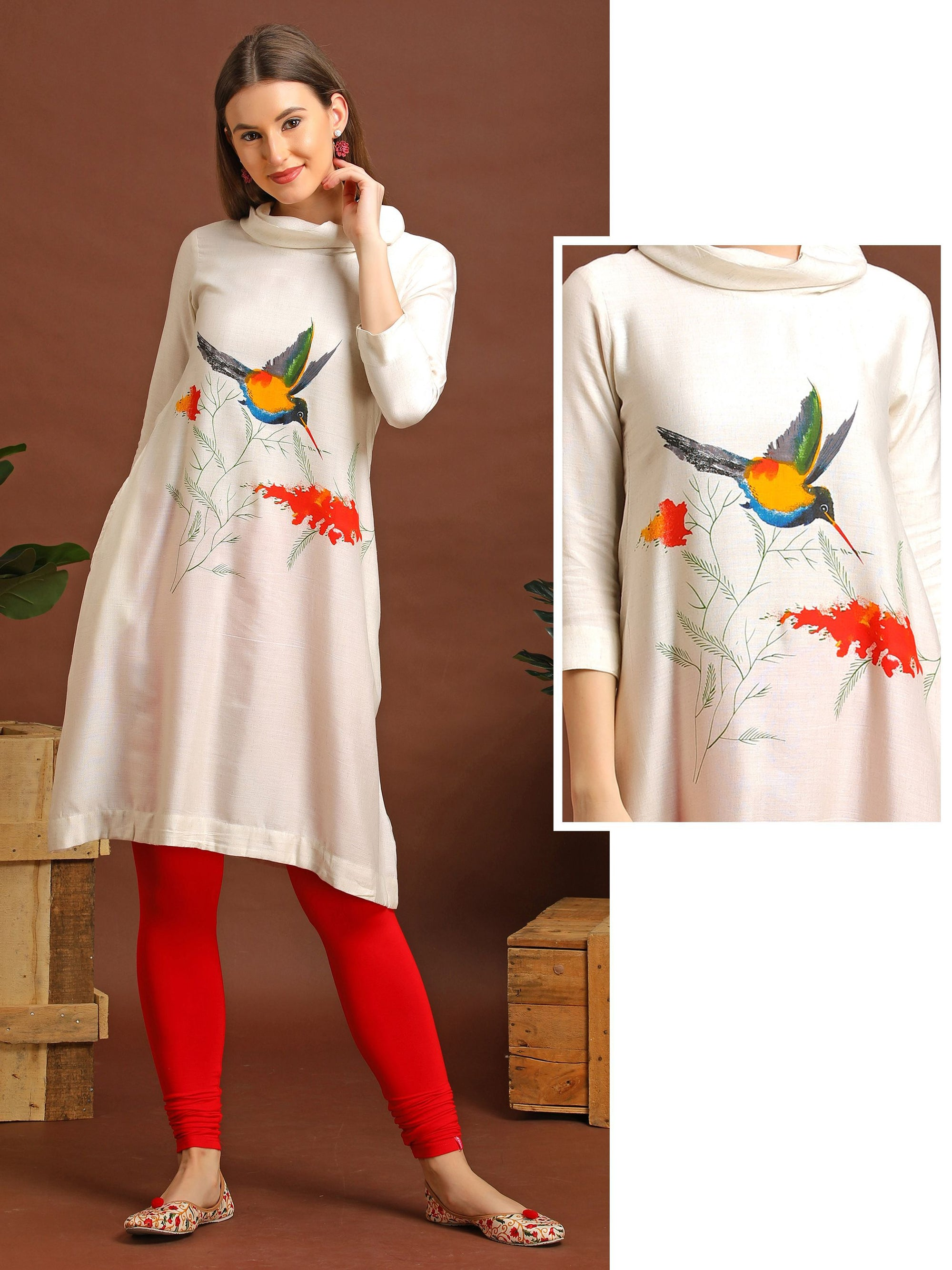 Turtleneck Kurta With Bird Print