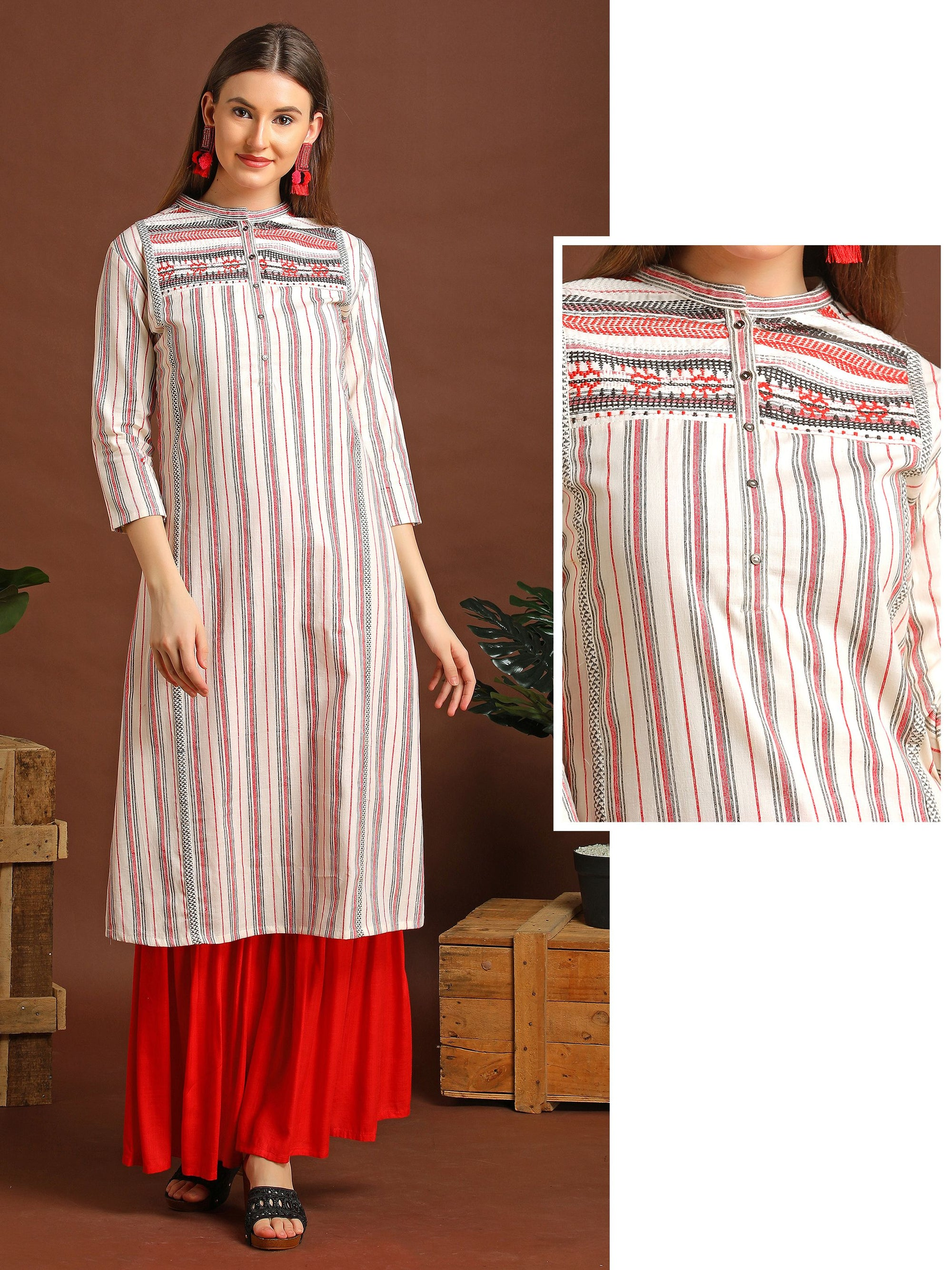 Striped Kurta With Embroidered Yolk Panel