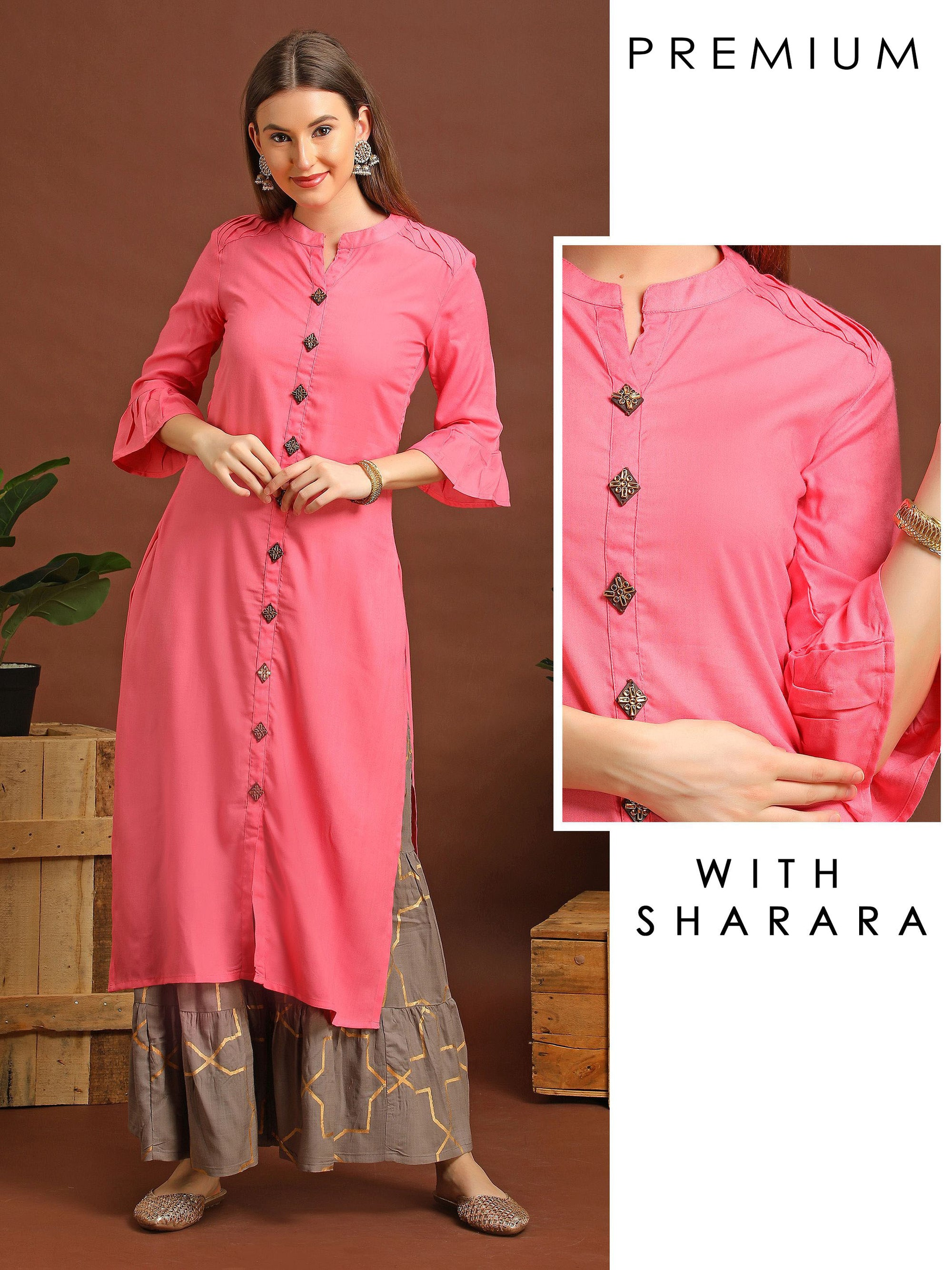 Pintuck Kurta With Gold Design Sharara Set