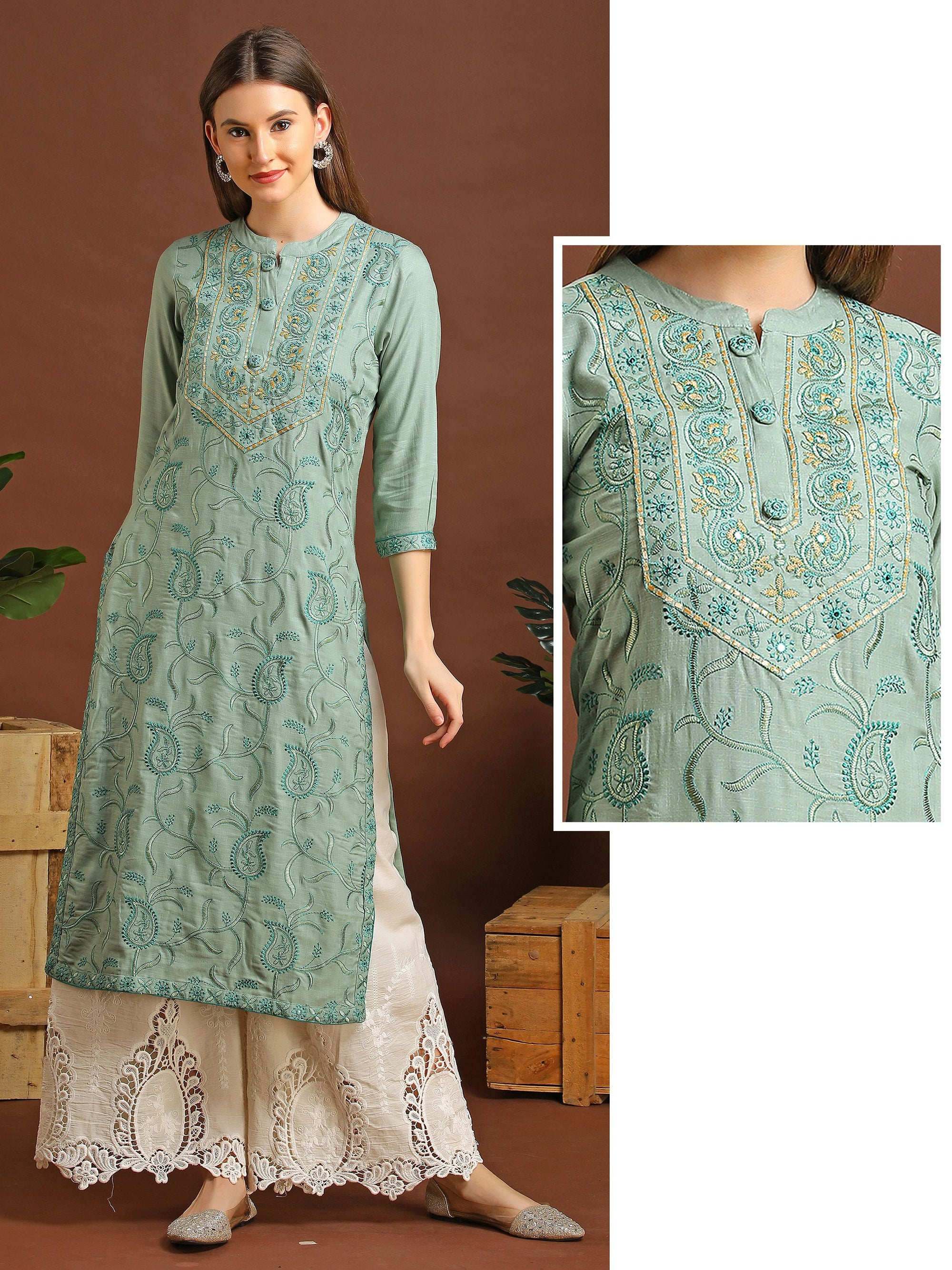 Floral & Mango Self Embroidered Cotton Kurti – Green