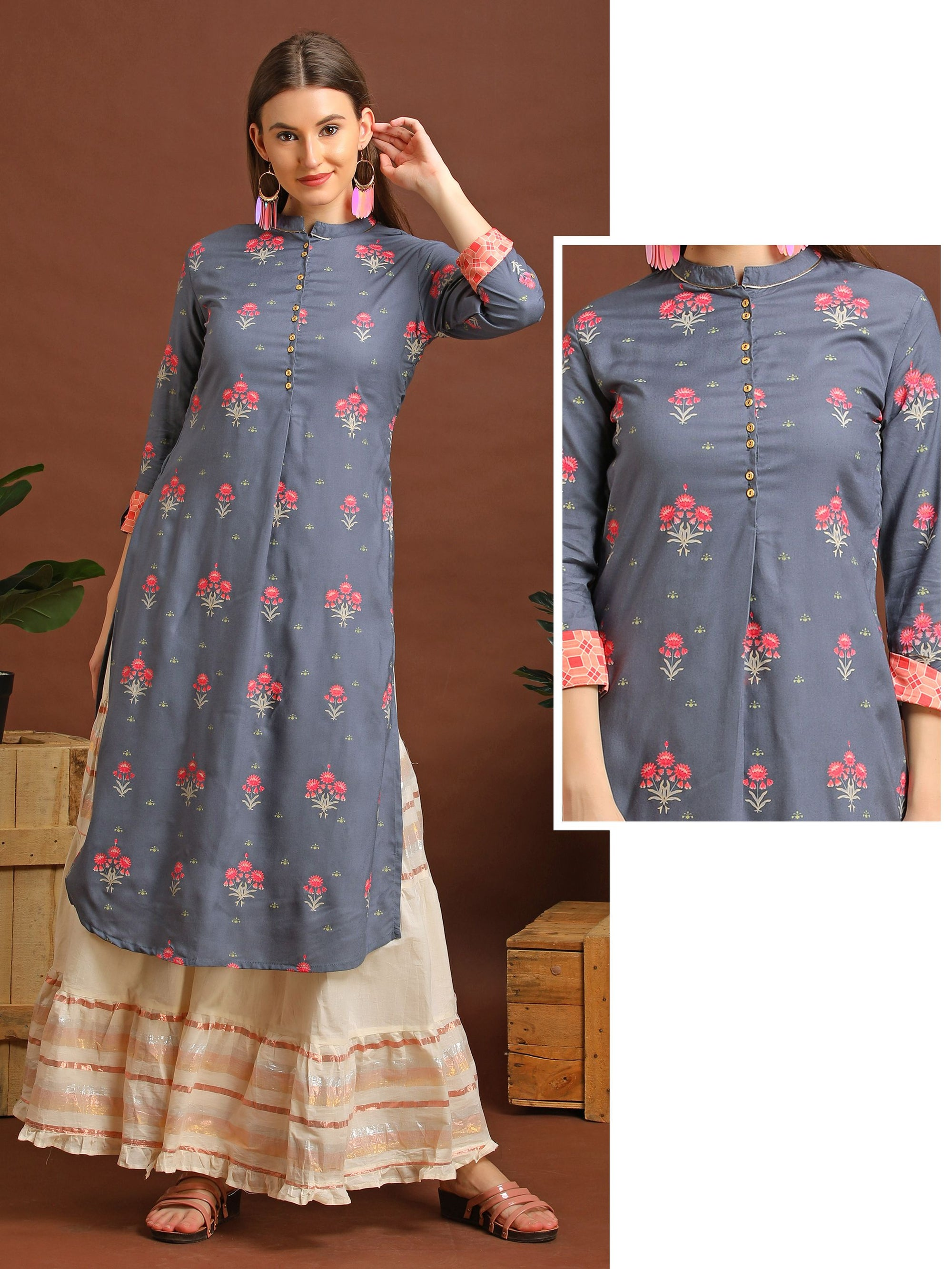 Pretty Floral Kurta With Abstract Design Cuff