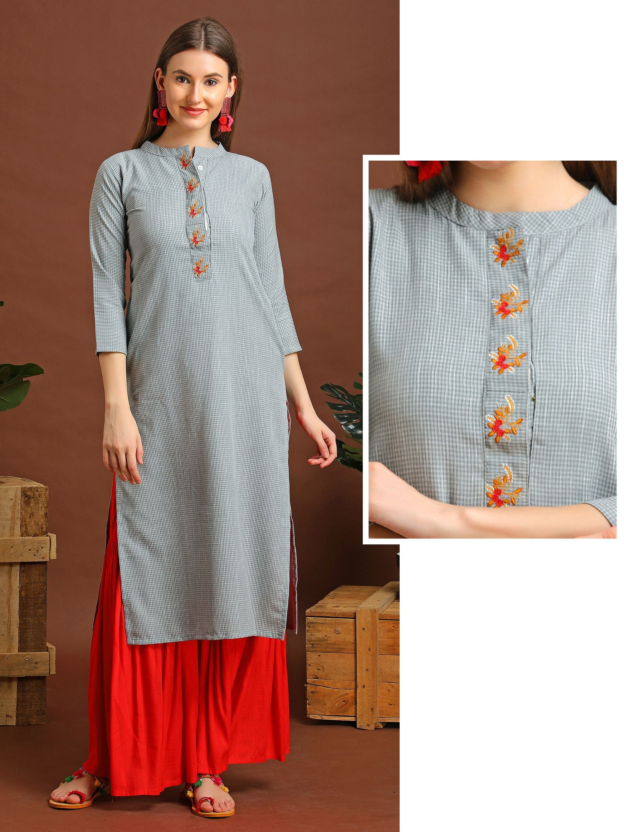 Micro Checks Kurta With Floral Embroidery - Grey
