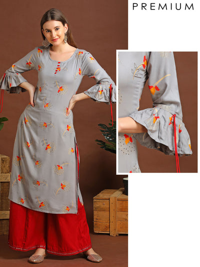 Floral Kurta With Stone Work