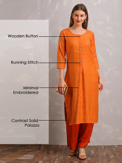 Minimal Embroidered & Wooden Buttoned Cotton Kurti & Solid Palazzo