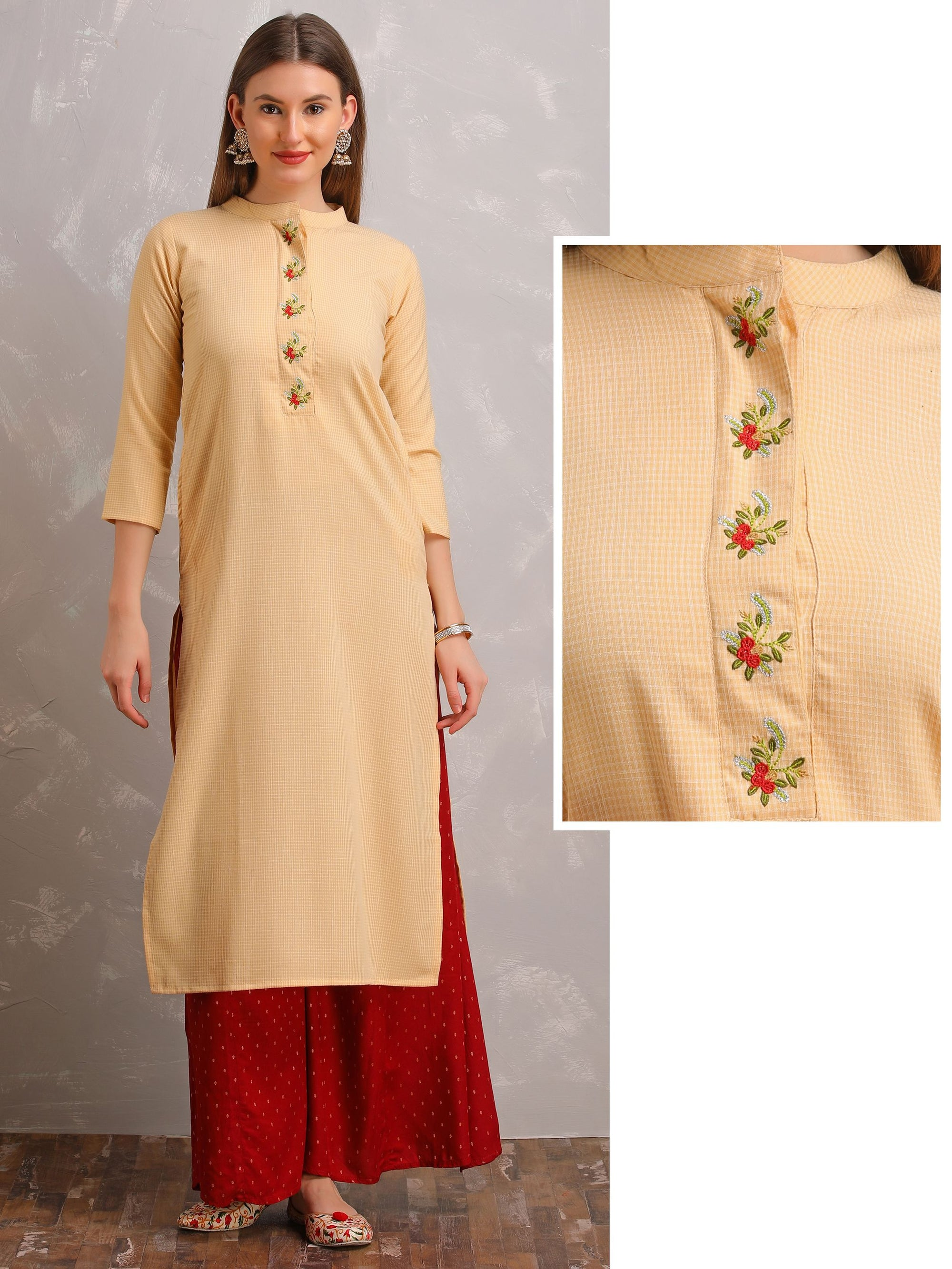 Micro Checks Kurta With Floral Embroidery - Yellow