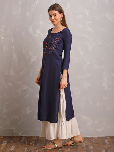 Running Stitch Floral Design Kurta With White Sharara Set
