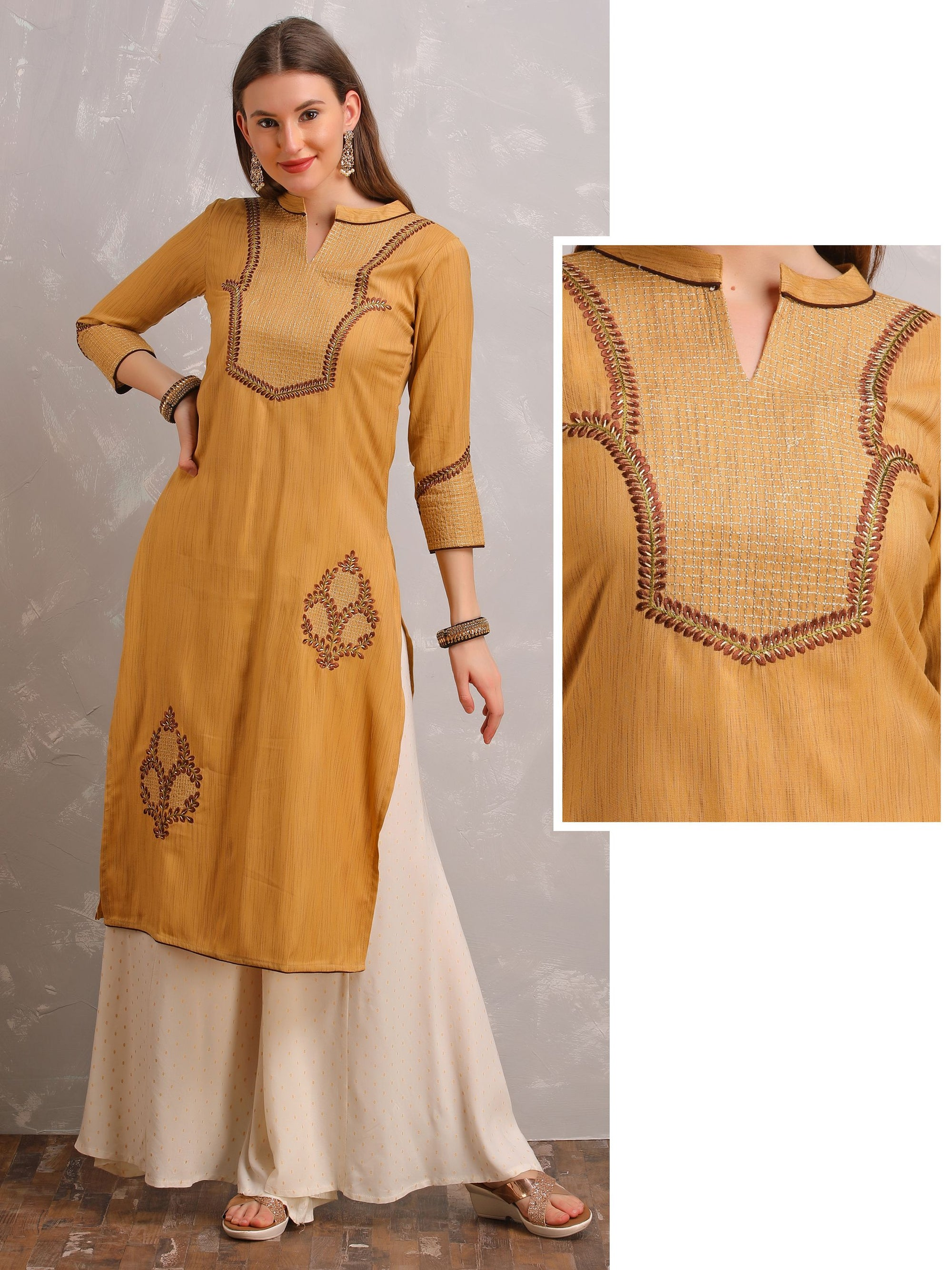 Floral Buta & Checkered Embroidered Handloom Cotton Kurti