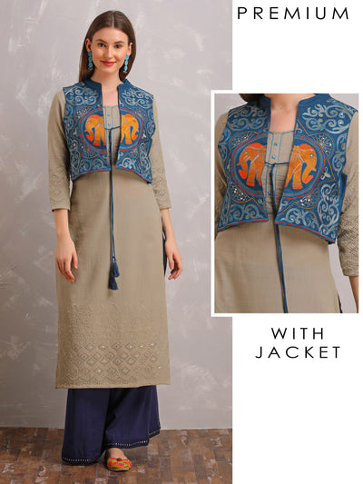 Embroidered With Schiffli Cutout Kurta And Embroidered Jacket Set
