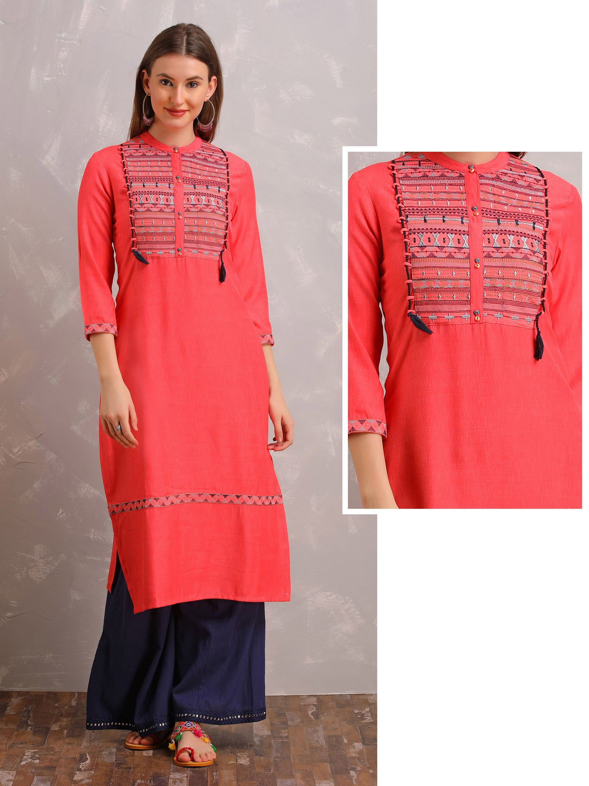 Embroidered Yolk Panel Kurta With Tassels