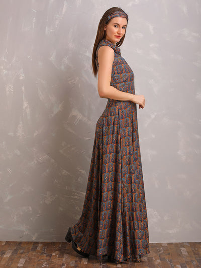 Floral Foil Printed Casual Flared Maxi