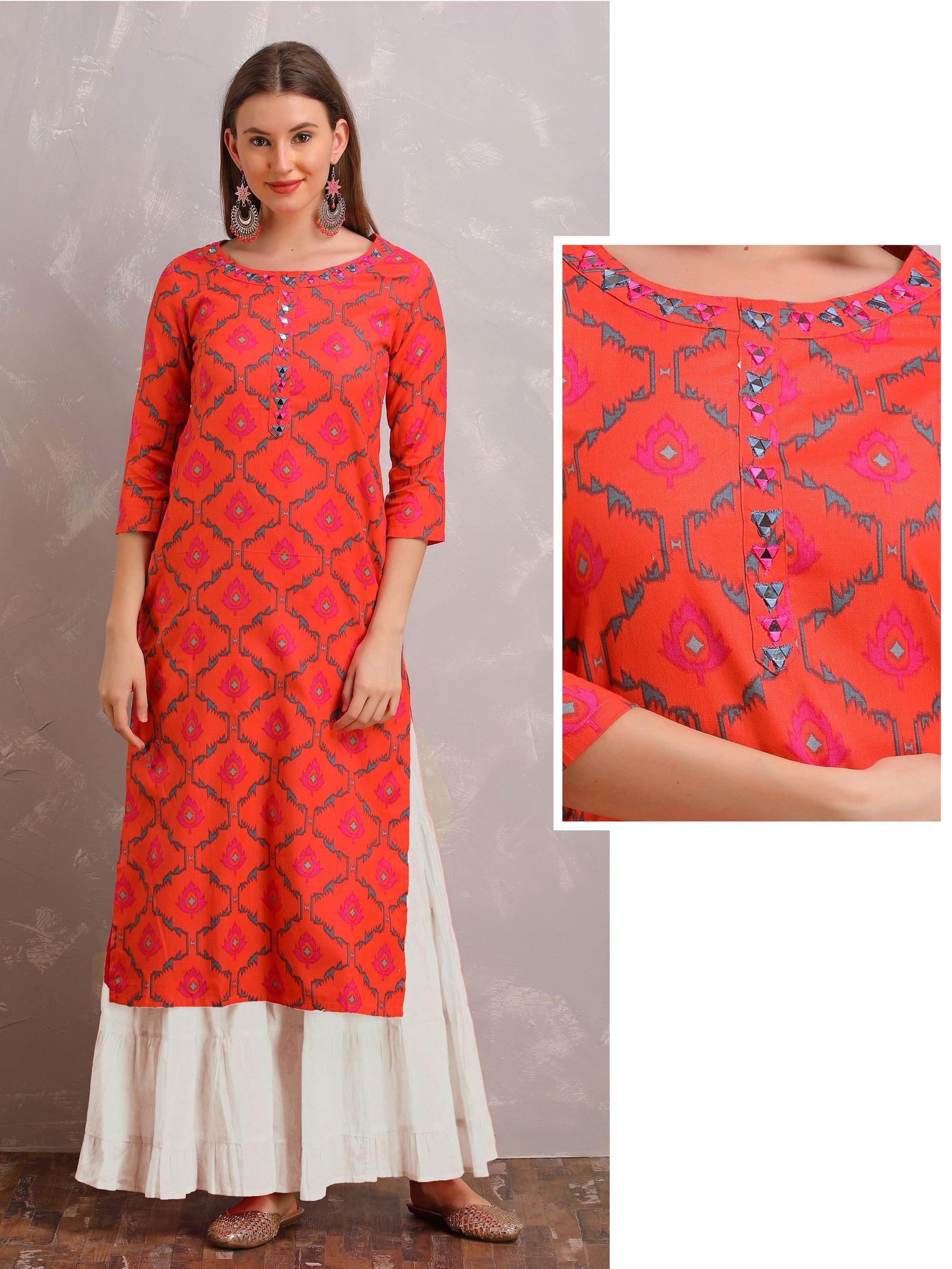 Vibrant Floral Kurta With Mirror Work