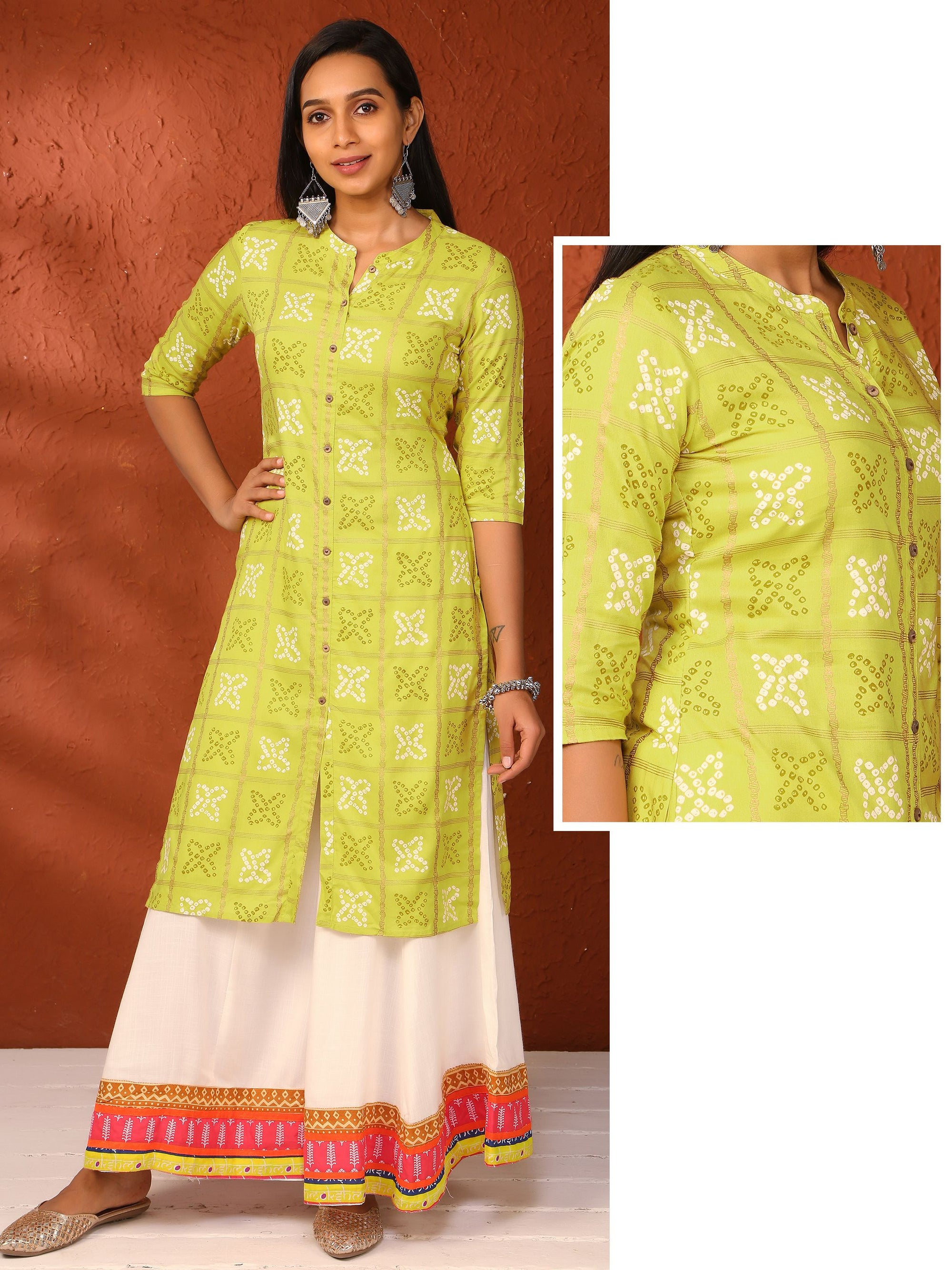 Zari & Bandhani Print Cotton Kurti - Lime Green