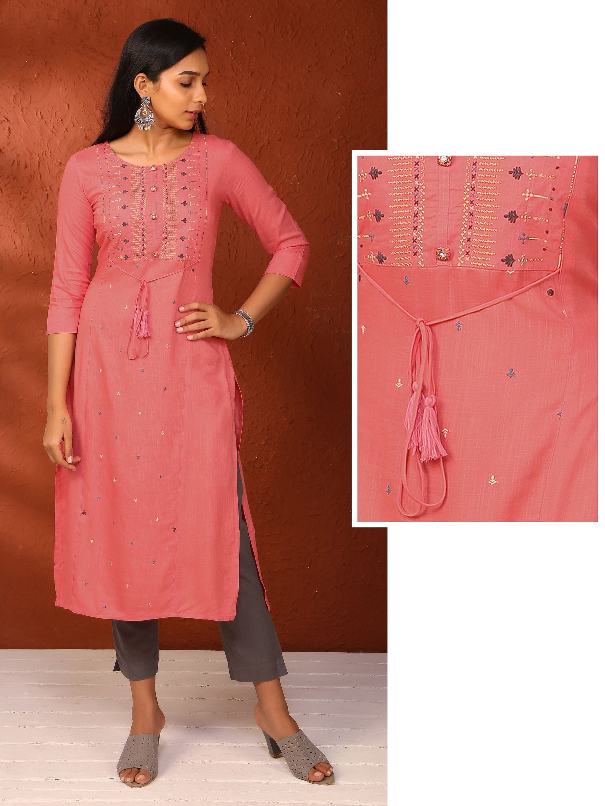 Minimal Embroidered  Cotton Kurti - Corel
